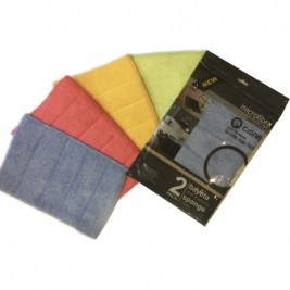 pack-2-microfibre-cloths-with-sponge-assorted-colours